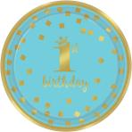 8 Plates 1st Birthday Paper Round Blue & Gold 17.7 cm