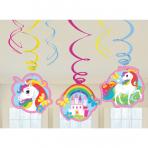 6 Swirl Decorations Unicorn Foil / Paper 80 cm