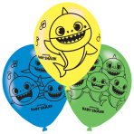 "6 Latex Balloons Baby Shark 27,5 cm / 11"""