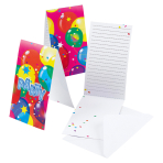 6 Invitations & Envelopes Balloon Party 2 Paper 8 x 14.1 cm