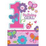 8 Invitations & Envelopes Sweet Birthday Girl 15.8 cm x 10.8cm