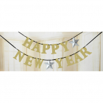 Letter Banner Happy New Year Silver, Gold 360 x 12,7 cm
