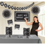 Room Decorationg Kit Birthday Accessories - Black & White Personalize It