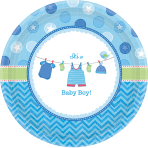 8 Plates Shower With Love - Boy Paper Round 26.7 cm