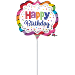 "Mini Shape ""Rainbow Birthday Marquee"" Foil Balloon, A30, airfilled"