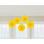 5 Fan Decorations Sunshine Yellow Paper15.2 cm