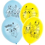 6 Latex Balloons Pokémon 27.5 cm / 11""
