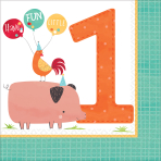16 Napkins Barnyard Birthday 1st Birthday 33 x 33 cm