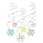 6 Swirl Decorations 30 Confetti Birthday Paper 61 cm