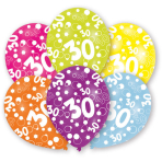 6 Latex Balloons All Round Printed Age 30 27.5 cm/11''