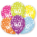 6 Latex Balloons All Round Printed Age 40 27.5 cm/11''
