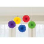 5 Fan Decorations Rainbow Paper 15.2 cm
