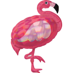 Holographic SuperShape Iridescent Pink Flamingo Foil Balloon P40 Packaged 71cm x 83cm