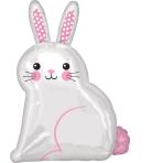 Junior Shape White Satin Bunny Foil Balloon S50 packaged 40 cm x 55 cm