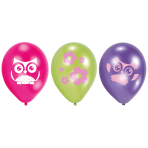 6 Latex Balloons Happy Owl 22.8 cm/9''