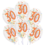 "6 Latex Balloons Droplets 30 Confetti Birthday 1C Confetti Filled Paper 27.5 cm / 11"""