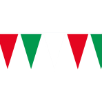 Pennant Banner Green-White-Red Plastic 400 x 26 cm
