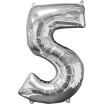 Mid Size Number 5 Silver Foil Balloon L26 Packaged 45cm x 66cm