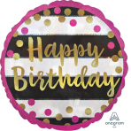 """Standard """"Pink & Gold Milestone"""" Foil Balloon Round Holographic, S55, packed, 43cm"""