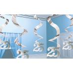 5 Swirl Decorations Silver Anniversary Foil 61 cm