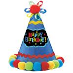 Party Cone Hat Birthday Brights Paper / Fabric Height 20.9 c