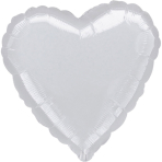 Standard Heart Metallic SilverFoil Balloon S15 Bulk