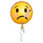 Standard Emoticon Get Well Soon Foil Balloon, round, S40, packed, 43 cm
