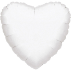 "Standard ""Metallic White"" Foil Balloon Heart, S15, packed, 43cm"