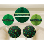 5 Hanging Decorations St. Patrick's Day Paper 21.5 cm / 24.1 cm / 29.2 cm
