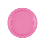 8 Plates Bright Pink Paper Round 17.7 cm