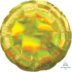 Standard Holographic Iridescent Yellow Circle Foil Balloon S55 Packaged