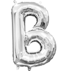 MiniShape Letter B Silver Foil Balloon L16 Packaged 22cm x 33cm