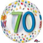 "Orbz ""Happy 70th Birthday Rainbow"" Foil Balloon Clear, G20, packed, 38 x 40cm"