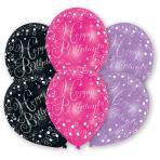6 Latex Balloons Pink, Purple,Black