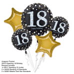 "Bouquet ""Sparkling Birthday 18"" 5 Foil Balloons, P75, packed"