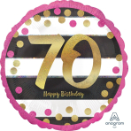 """Standard Pink & Gold Milestone 70"""" Foil Balloon Round Holographic, S55, packed, 43cm"""