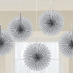5 Fan Decorations Silver Paper 15.2 cm