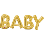 "SuperShape Phrase ""Baby"" Gold Foil Balloon P35 Packaged 66 x22 cm"