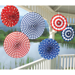 6 Fan Decorations USA Paper 20.3 cm / 30.4 cm / 40.6 cm