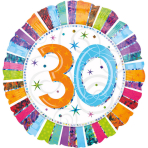 Standard Radiant Birthday 30 Foil Balloon S55 Packaged