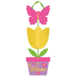 Sign Welcome with Ribbon Hanger MDF Glitter 15.7 x 45 cm