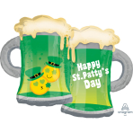 "SuperShape ""St. Patty's Emoticon Mugs"" Foil Balloon, P35, packed, 81 x 63cm"