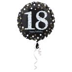 Standard Sparkling Birthday 18 Foil Balloon Round S55 Packaged 43 cm