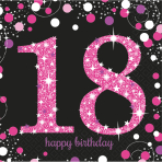 16 Napkins 18 Sparkling Celebration - Pink 33 x 33 cm