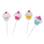 4 Mini Figurine Candles Cupcake 3 x 2 cm
