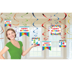 12 Swirl Decorations Birthday Accessories - Primary Rainbow Foil / Paper 61 cm