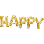 """SuperShape Phrase """"Happy"""" GoldFoil Balloon P35 Packaged 76  x 25 cm"""