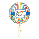 Orbz Happy Birthday Bright Stripe & Chevron Foil Balloon G20Packaged 38 x 40 cm