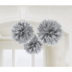 3 Fluffy Decorations Silver Paper 40.6 cm