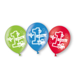 6 Latex Balloons All Aboard Birthday All Over Print 27.5 cm/11''
